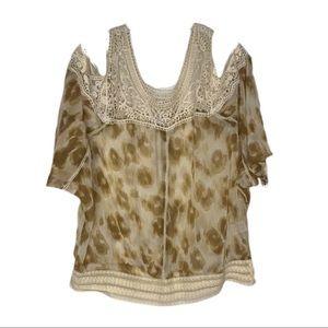 Mystree Boho Sheer Leopard Cold Shoulder Blouse